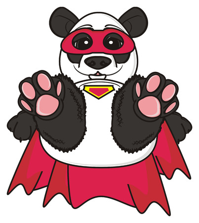 cloak: panda in red mask with red cloak