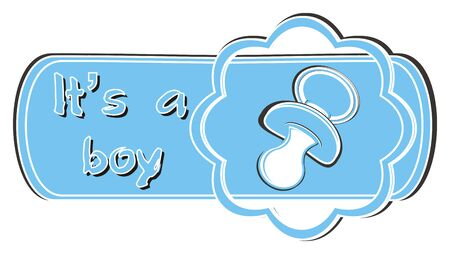 pacifier: blue banner with blue pacifier Stock Photo