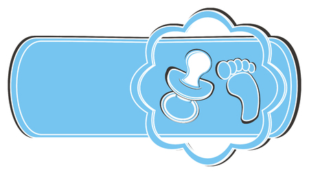 clean banner with pacifier and foot