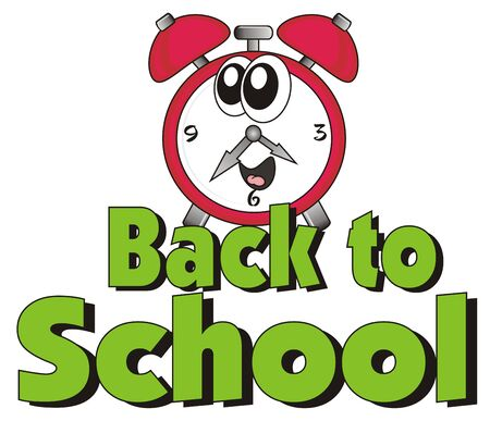 mechanical back: words back to school with red alarm clock Stock Photo