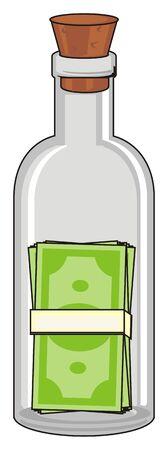 cork: pack of money inside bottle with cork