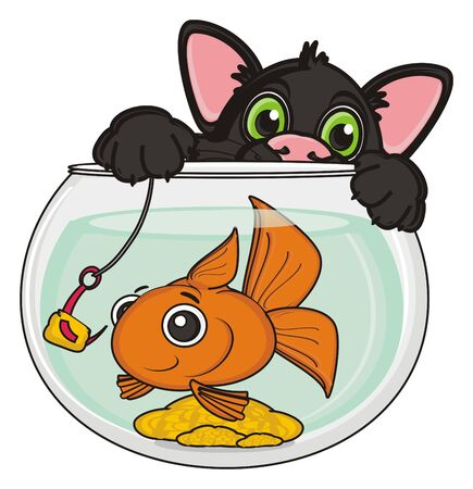 black cat hold a hook with lure near the goldfish in aquarium