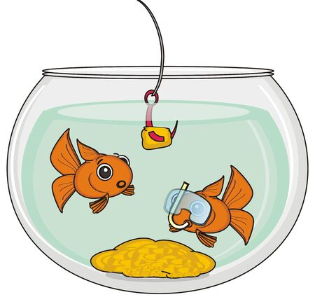 goldfishes: two goldfishes looks at hook with lure Stock Photo