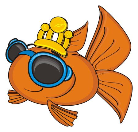 gills: goldfish in gold crown and sunglasses Stock Photo