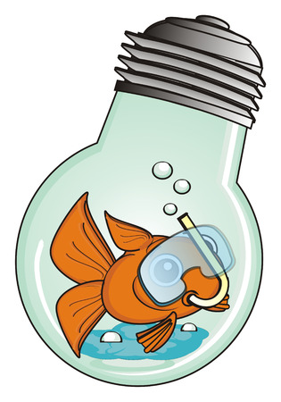 swim mask: goldfish in mask swim in light bulb Stock Photo