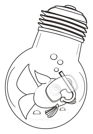 swim mask: coloring fish in mask swim in light bulb