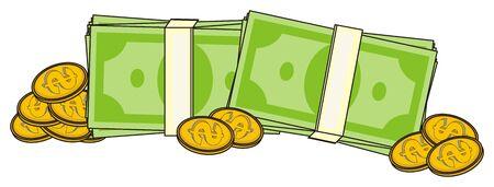 mucho dinero: una gran cantidad de paquete de monedas de dinero y oro Foto de archivo