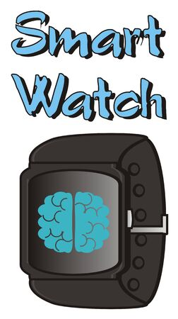 display: smart watch with brain on the display Stock Photo
