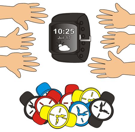 threw: all hands pull the smart watch and threw analog clocks