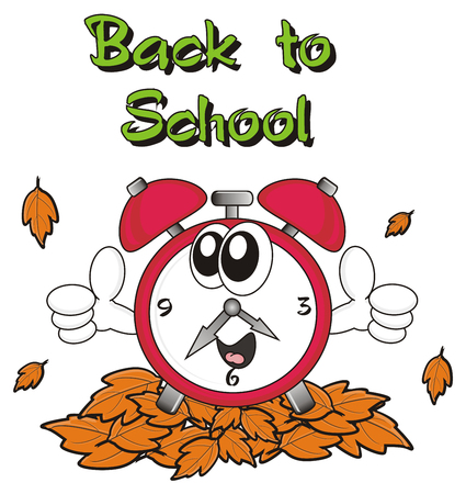 mechanical back: inscription Back to school with red alarm clock around autumn leaves