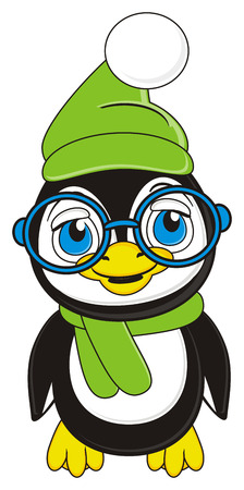winter hat: penguin in green hat and scarf stand