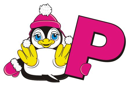 penguin girl in warm winter clothers hold a pink letter P