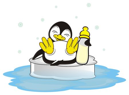 baby pinguin with bottle of milk sitting on the ice