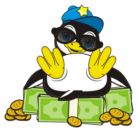 trendy penguin with pack of money and coins Stock Photo