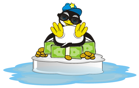 stylish penguin sitting top of pack of money on the ice