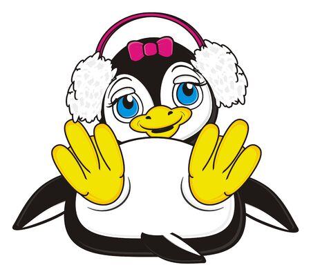 kind: smiling penguin girl with pink bow and headphones lying Stock Photo
