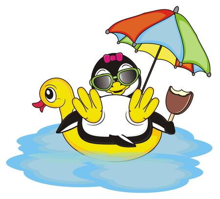 cool penguin girl eating an ice cream and swimming on the inflated yellow duck Stock Photo