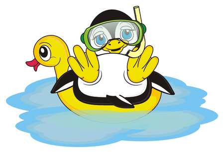 penguin in mask with snorkel lying on the inflatable yelloe duck in the water