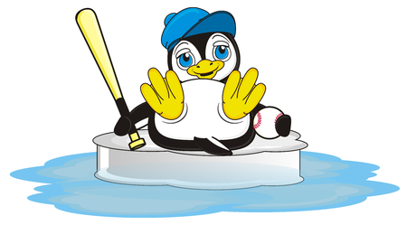 penguin hold a baseball and sitting on the ice