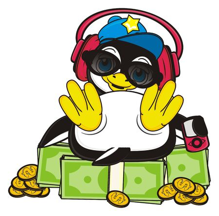 stylish penguin lising to the music and sitting top on the pack of money