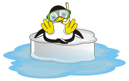 lying in: penguin in mask and with snorkel lying on the ice