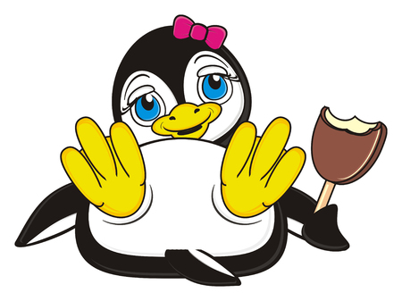 pink bow: penguin girl with pink bow eating an ice cream