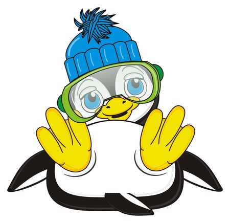 lying in: penguin in hat and glasses lying