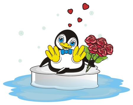 penguin in love hold a red roses and sitting on the ice