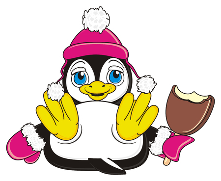 penguin girl with bitten ice cream Stock Photo