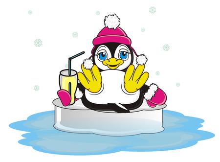 floe: penguin girl hold a drink