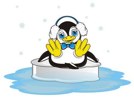 lying in: penguin boy in blue warm headphones lying on the ice Stock Photo