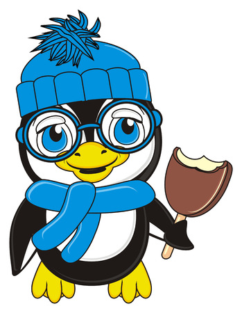 ice cream stand: penguin boy in warm blue clothers stand and hold an ice cream