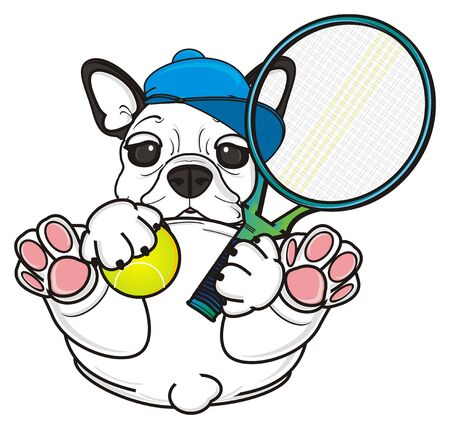 french bulldog: cute french bulldog want play to tennis Stock Photo