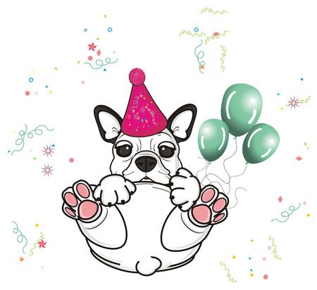 french bulldog: french bulldog in pink cap hold a three green airballoons