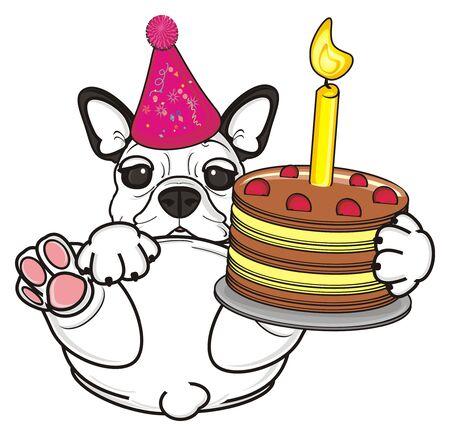 felicitaciones cumpleaÑos: bulldog francés mantenga una tarta de cumpleaños con una vela