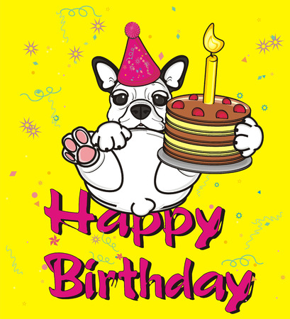french bulldog: yellow greeting card with french bulldog and cake with candle