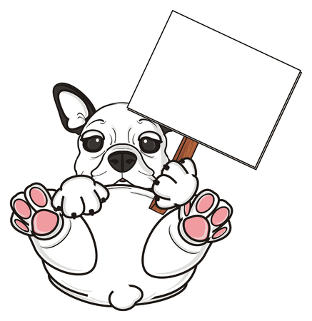 wooden stick: french bulldog sitting and hold a clean plate on the wooden stick Stock Photo