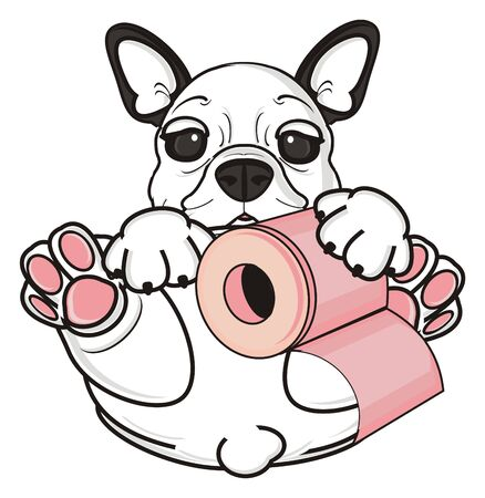 french roll: french bulldog hold a roll of toilet paper