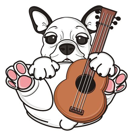 french bulldog: french bulldog puppy hold a guitar