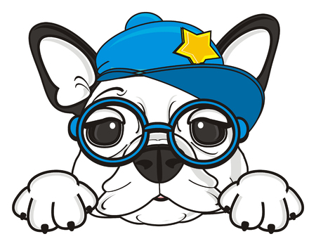 french bulldog: happy muzzle of french bulldog in glasses and cool cap