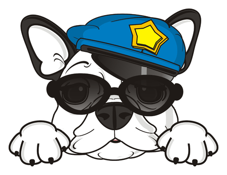 white snout of french bulldog in black sunglasses and blue police cap