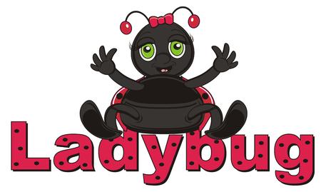 ladybug: ladybug sitting top on the inscription ladybug Stock Photo