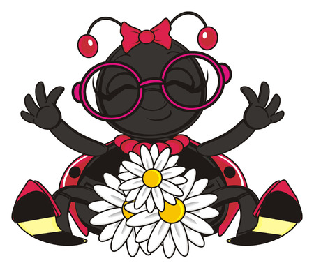 raise: ladybug sit with flowers and raise up her paws