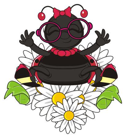 ladybug: smiling ladybug with flowers