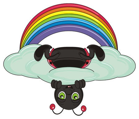 sit up: ladybug sit up side down on the cloud next to the rainbow