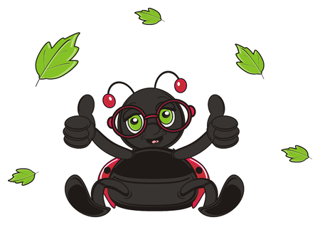 fly around: ladybug show gesture class and a lot of leaves fly around