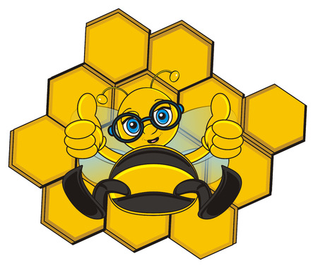 bee in glasses sit next to the ceel and show gesture cool