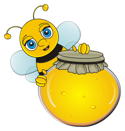 muzzle of bee peek up from full round bank of honey Stock Photo