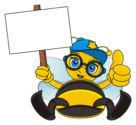 bee in blue cap hold a clean banner on the stick and show gesture cool