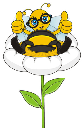 lass: bee sitting on the flower and show gesture class
